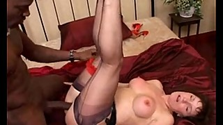 Milf in black seamed stockings suck and fucks bbc