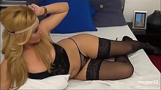 Fantastic wife in black lingerie and heels