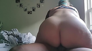 snowbunny pawg wife gives blowjob to black stranger and let's him creampie