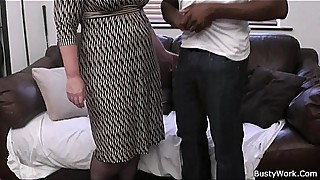 Busty lady boss in fishnets loves black meat