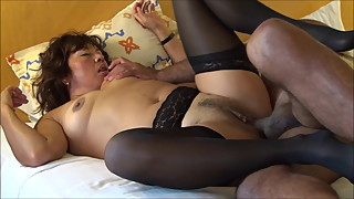 ASIAN WIFE RIDING IN BLACK STOKINGS