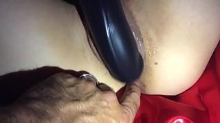 My Hotsexywifexxx fucking a huge black Dildo
