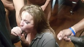 Gangbang on cuck's mature wife