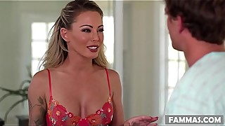 Suspicious Stepson visits his Mom in her workplace - Isabelle Deltore - Family Sex Massage