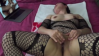 Asian MILF - Pussy Playing While Watching Porn in Black Stockings