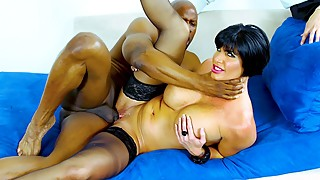 MILF pornstar fucked by a black guy in front of her husband
