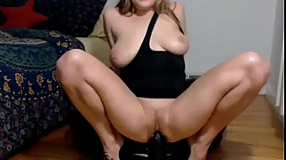 Hot Wife Rides Big Black Dildo And Squirts In Kitchen On YesCams.com