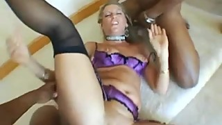 Blonde HotWife Fucked in Hardcore Gangbang with Two BBCs