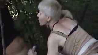 Horny wife has fun wuth voyeurs in forest. Amateur