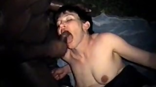 Short-Haired Brunette Wife Rides a BBC Outdoors