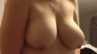 wife covering her big tits, bbw body with black girdle