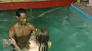 Interracial BBC White Wife Pool Foreplay