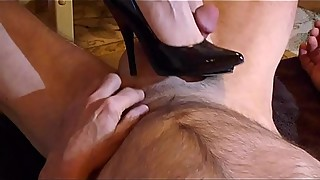 Black Patent Stiletto Shoe Job 01