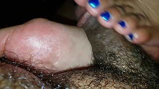 Red and blue nails footjob part 1