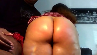 Spanking my big booty latina wife, thick, juicy, pink pussy. spanish ass